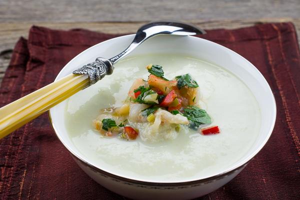 Corn Soup With Prawn Salsa