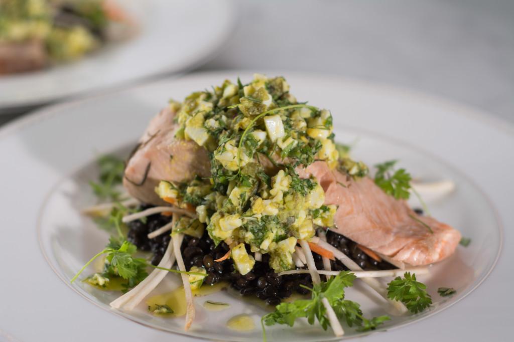 Poached Salmon, Beluga Lentils, Sauce Gribiche
