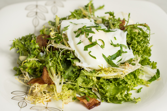 Frisée, Bacon and Poached Egg Salad